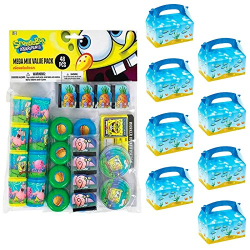 BirthdayExpress Spongebob Party Supplies Filled Favor Box Kit (for 8 Guests) ()
