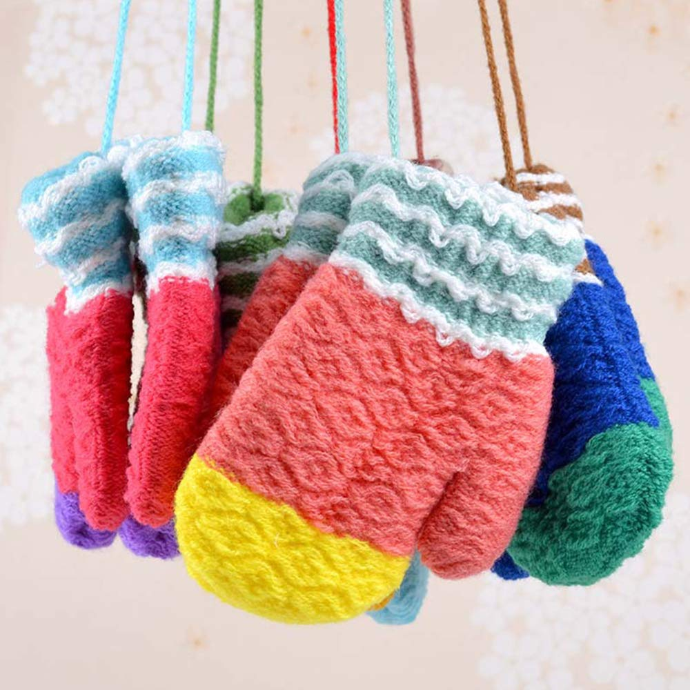 green Toddlers Kids Knitted Gloves with String Baby Boys Girls Winter Warm Mittens Hanging Neck Full Finger Gloves Birthday Xmas Gifts for Children Age 2-5