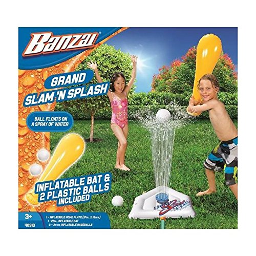 Banzai Grand Slam N Splash ( Includes Inflatable Bat Home Plate and Two 2 Balls - Spring Summer Water Sports Splash Spray Baseball Game Backyard Fun Play Toy) (Toys Outdoor Banzai)