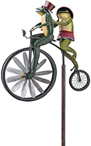 Bulex Frogs on a Vintage Bicycle Metal Garden Wind Spinner Handmade Bicycling Frogs Statue Sculpture Yard Lawn Figurine Decoration 20x6cm