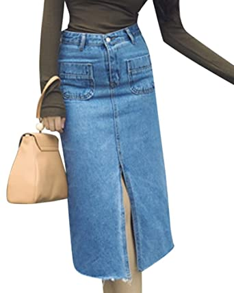 6a9a732d9a2a Femmes Taille Haute Mi-Longue Été Jupe En Denim Jean Avec Poches Bleu Clair  S