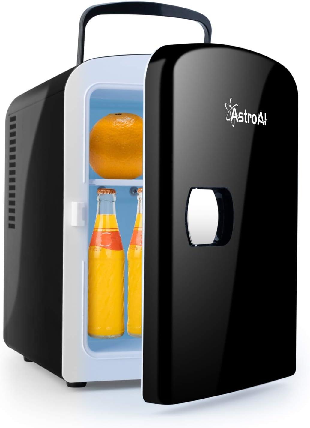 AstroAI Mini Refrigerador, Mini Nevera Portátil para el Skincare 4L 6 Latas de Refrescos, Mini Neveras 220V/12V para Enfriar y Calentar (Negro)