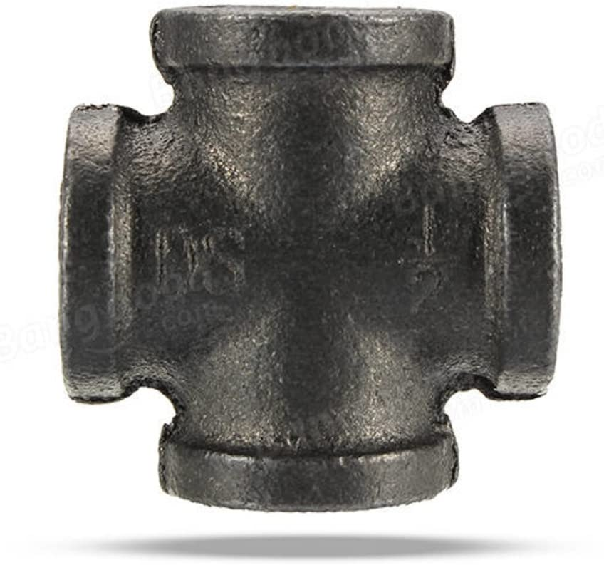 1 PC 1 Inch 1//2 3//4 1 5 Way Pipe Fitting Malleable Iron Black Outlet Cross Female Tube Connector