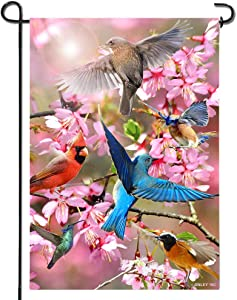 Anley |Double Sided| Premium Spring Garden Decorative Flag, Flower and Bird Welcome Garden Flags - Weather Resistant & Double Stitched - 18 x 12.5 Inch
