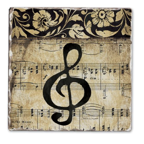 (CounterArt Music Staff Tumbled Tile Coasters, Set of 4 )