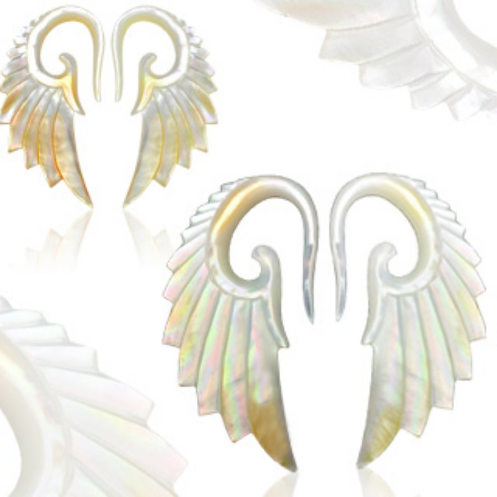 Angelic Wing Pair of Hand Carved Mother of Pearl WildKlass Taper (Sold as a Pair)