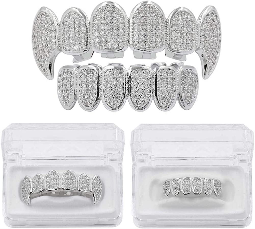 JAJAFOOK 18K White Gold Plated Iced Out CZ Fang Top Bottom Grillz Mouth Teeth Grills Set Teeth Cap