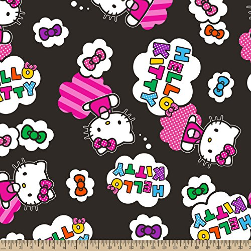 Sanrio - Hello Kitty Clouds and Bows, Fleece Fabric, 59/6...
