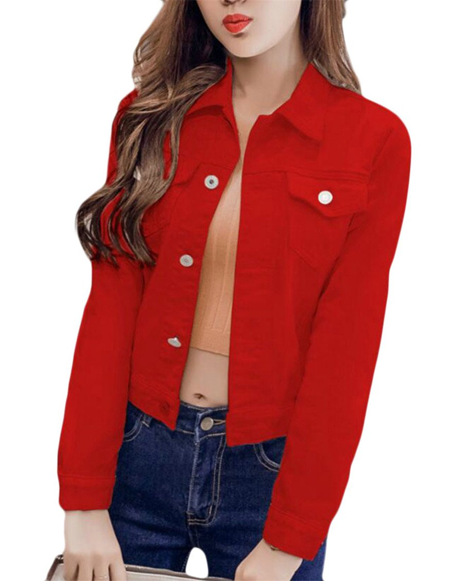Jaycargogo Women¡¯s Basic Solid Color Short Denim Jacket Long Sleeve Slim Jean Coat Red L