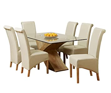 1home Glass Top Oak Cross Base Dining Table Set W/ 4 6 Leather Chairs Room