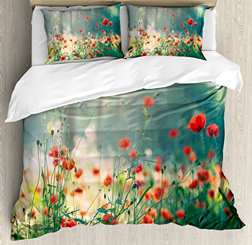 - Ambesonne Nature Duvet Cover Set, Wild Red Poppy Flowers Field Summertime Sunbeams Gardening Bedding Plants, Decorative 3 Piece Bedding Set with 2 Pillow Shams, Queen Size, Yellow Green