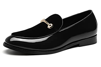 83ceb377ae5be SANTIMON Fashion Loafers Men Dress Suede Patent Leather Driving Flats Slip  on Moccasins Casual Shoes Black