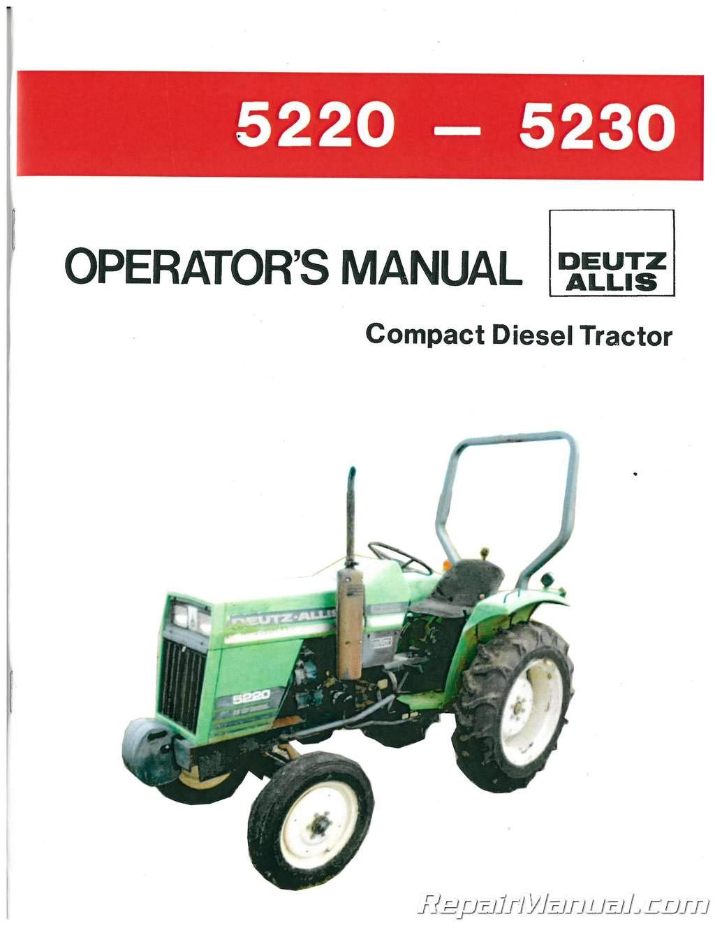 AC-S-5220-GD Deutz-Allis 5220 5230 sel 2 and 4WD Synchro Lawn ... on