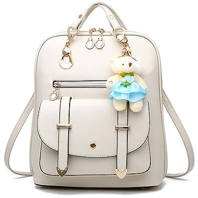 Amazon.com  FiveloveTwo Fashion Backpack Rucksack PU Leather Women Girls  Backpack Purse School Shoulder Hobo Bag Satchels Top-Handle Bags Beige   Shoes 48ea6478e0abb