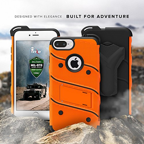 iPhone 8 Plus Case / iPhone 7 Plus Case - Zizo [Bolt Series] w/[iPhone 8 Plus Screen Protector ] Kickstand [Military Grade Drop Tested] Holster Clip