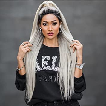 ef802620c Full Lace Human Hair Wig Silky Straight Ombre Gray 2 Tone Dark Roots Silver  Grey For