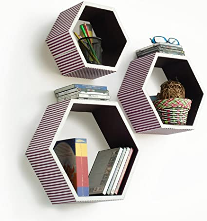 Trista – [Love de piel morado] hexagonal estante de pared ...