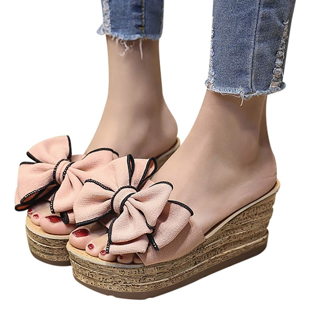 ♡QueenBB♡ Womens Platform Slip On Espadrille Wedge Slide Sandals Bowtie Knot Open Toe Summer Mules Shoes Pink by ♡QueenBB♡ Women's Shoes (Image #2)