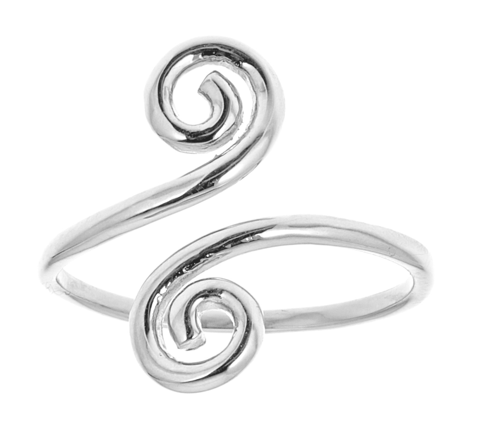 14k Solid White Gold Swirl Adjustable Ring or Toe Ring