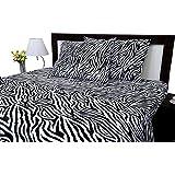 Aashi Rainwear Split Bed Sheet Set King - Adjustable Zebra Print 100% Cotton Wrinkle-Free Sheets 600-Thread-Count.