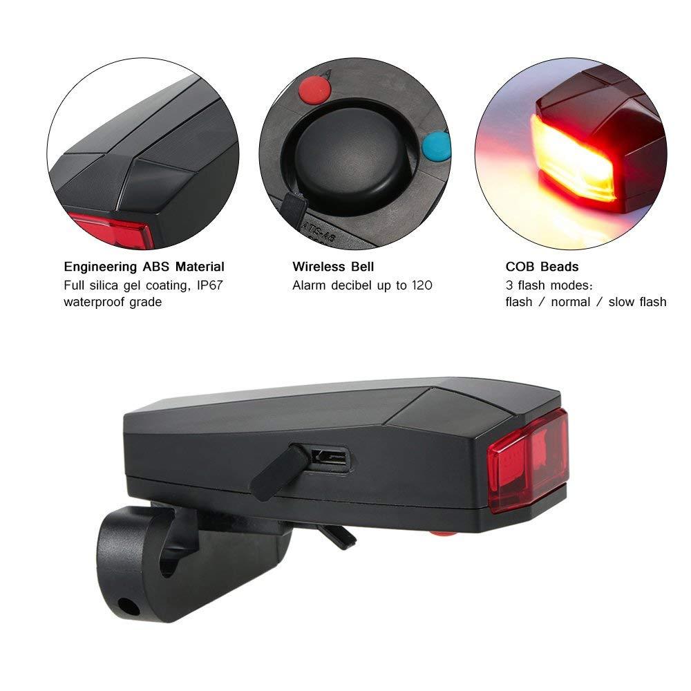 Docooler Inteligentes Anti-robo de la Bicicleta Luz Trasera Alarmante LED de Luz Estroboscópica de Advertencia Ciclismo Timbre Eléctrico con el Cable ...