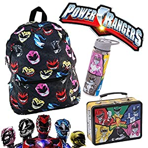 Mighty Morphin Power Rangers Dino Samurai Tin Tote Lunch Box Water Bottle Backpack Bag Bundle