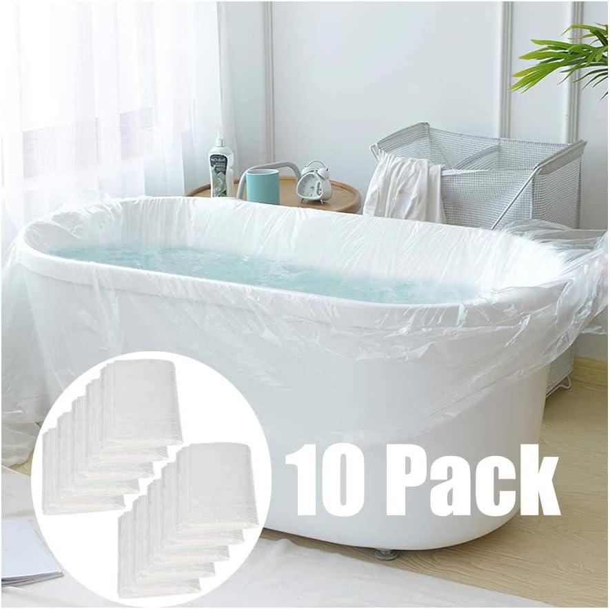 les baignoires GiantGo Lot de 10 sacs de baignoire jetables individuels pour les voyages les h/ôtels les salons