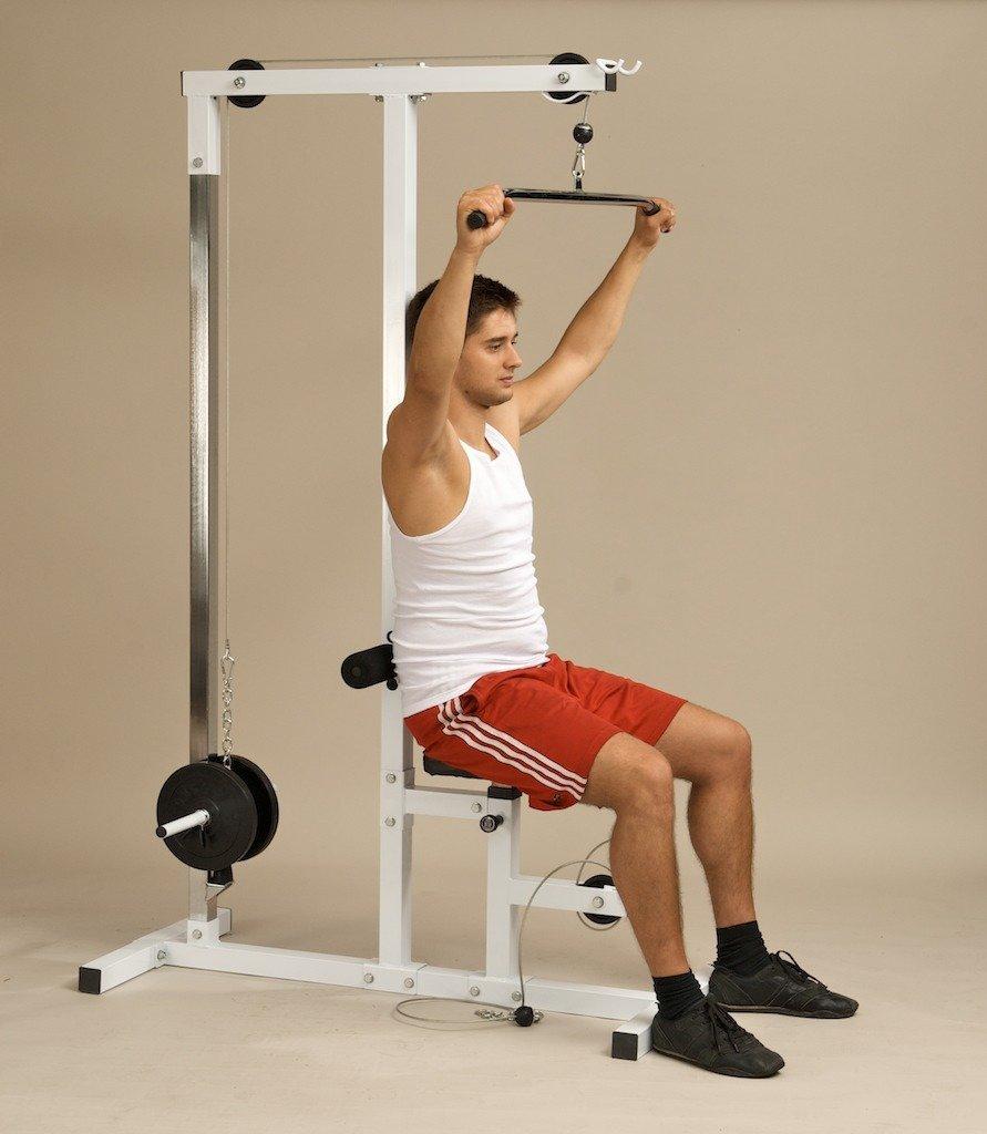 CLP Máquina gimnasio POLEAS para espalda, bíceps, tríceps, pecho. Polivalente, regulable, la mejor cualidad para el mejor resultado blanco: Amazon.es: ...