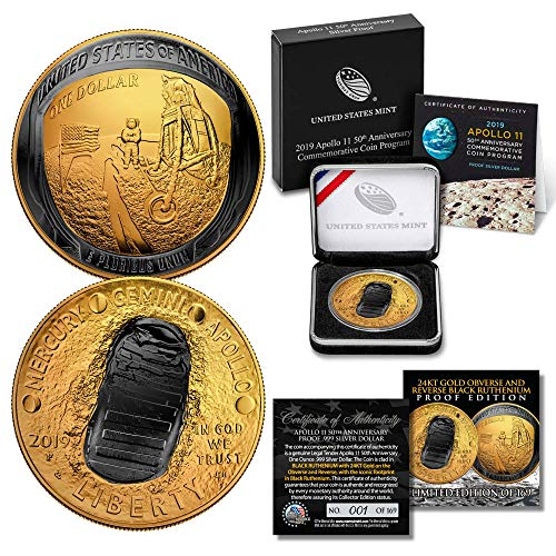 Apollo 11 Space 1 OZ CURVED 2019 PROOF Silver Dollar BLACK RUTHENIUM / 24K GOLD