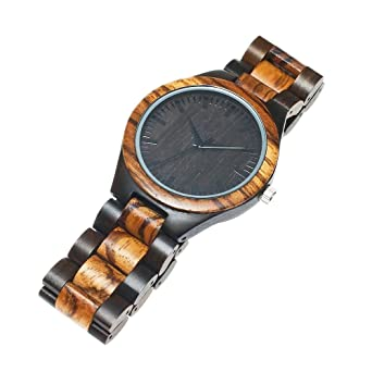 Amazon.com: ShoppeWatch Mens Wooden Bracelet Watch Two Tone Sandal Wood Zebrawood Hypo-Allergenic Reloj de Madera Hombre: Watches