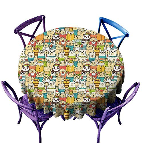 AndyTours Spillproof Tablecloth,Kids,Many Different Polar Bears Comical Characters with Funny Cute Faces Doodle Teddy Crowd,High-end Durable Creative Home,43 INCH Multicolor