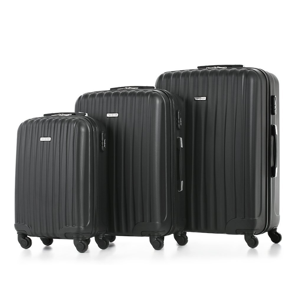 TOMSHOO Fashion Luggage Set, Carry-on Suitcase ABS Trolley, Hard Shell Combination Lock 4 Wheel Spinner Set, Black, 3 Piece