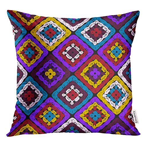 - Emvency 20x20 Inch Throw Pillow Covers Decorative Case Granny Squares Pattern and Ripples Afghan Crochet of Multicolored Knitted Cozy Cover Square Pillowcase Cushion Cases Both Sides Print