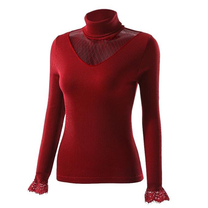 YiLianDa Collar Alto Camiseta De Ropa Interior Térmica De Acampada Y Senderismo para Mujer