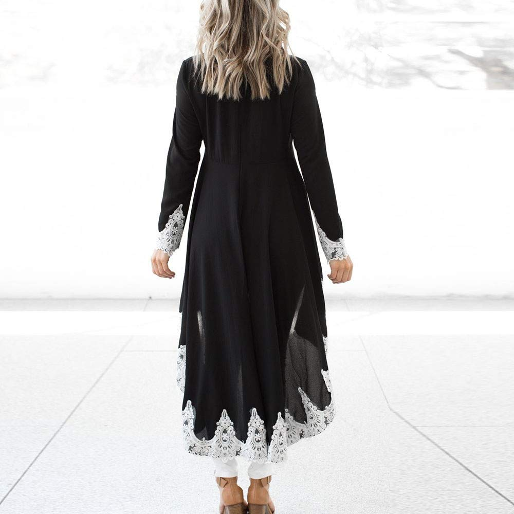 2019 Womens Long-Sleeved Casual O-Neck Pullover Irregular Hem Solid Color Lace Dres YAliDA Boutique Skirt