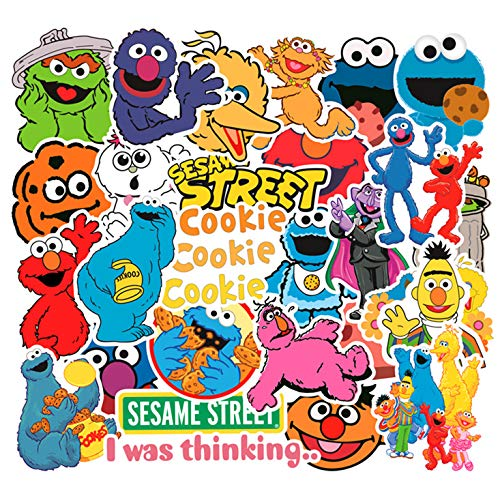 (50pcs Cartoon Anime Sesame Street Stickers for Laptop Stickers Motorcycle Bicycle Skateboard Luggage Decal Graffiti Patches Waterproof Stickers for [No-Duplicate Sticker Pack])