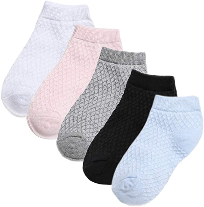 5 Pack Baby Girls Boy kids white Cotton Socks Mesh Breathable No Show Ankle Sock