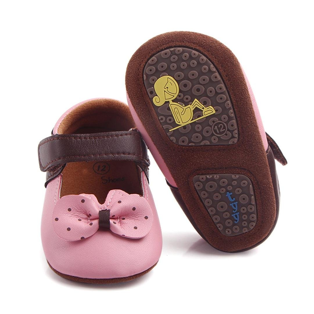 TM DEESEE 3-12 Months Baby Newborn Baby Girls Slippers Bowknot Dot Anti-Slip Shoes Sneaker