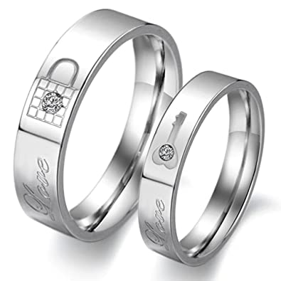 stainless steel couple rings wedding bands love lock finger shine crystal m10 - Couple Wedding Rings