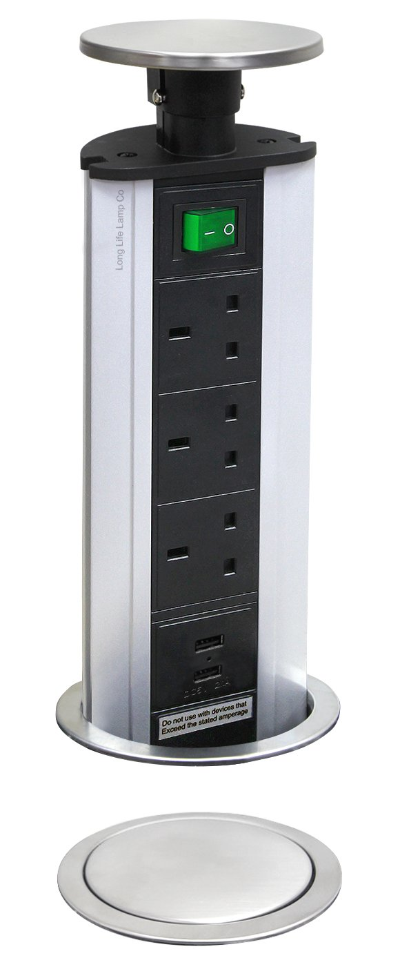 Pop-Up Socket with 2 USB Charging Port, Stainless Steel Top, 3 UK Plug Sockets