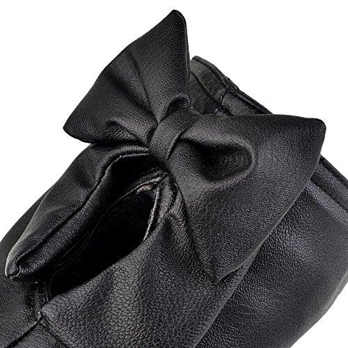 AllhqFashion Mujeres Sin Cordones Puntera Redonda PU Sólido Mini Tacón Botas Negro