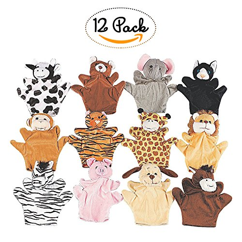 Animal Puppets 8.25 Inches  12 Pieces  Assorted Hand Puppet Animals Includes Arms And Legs - Great Party Favors, Fun, Toy, Gift, Prize  By Kidsco