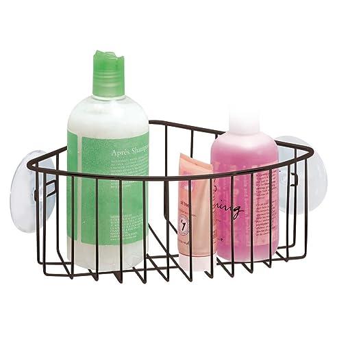 mdesign duschablage mit saugnpfen frs badezimmer praktischer duschkorb zum hngen fr die ecke duschzubehr - Duschzubehor Zum Hangen