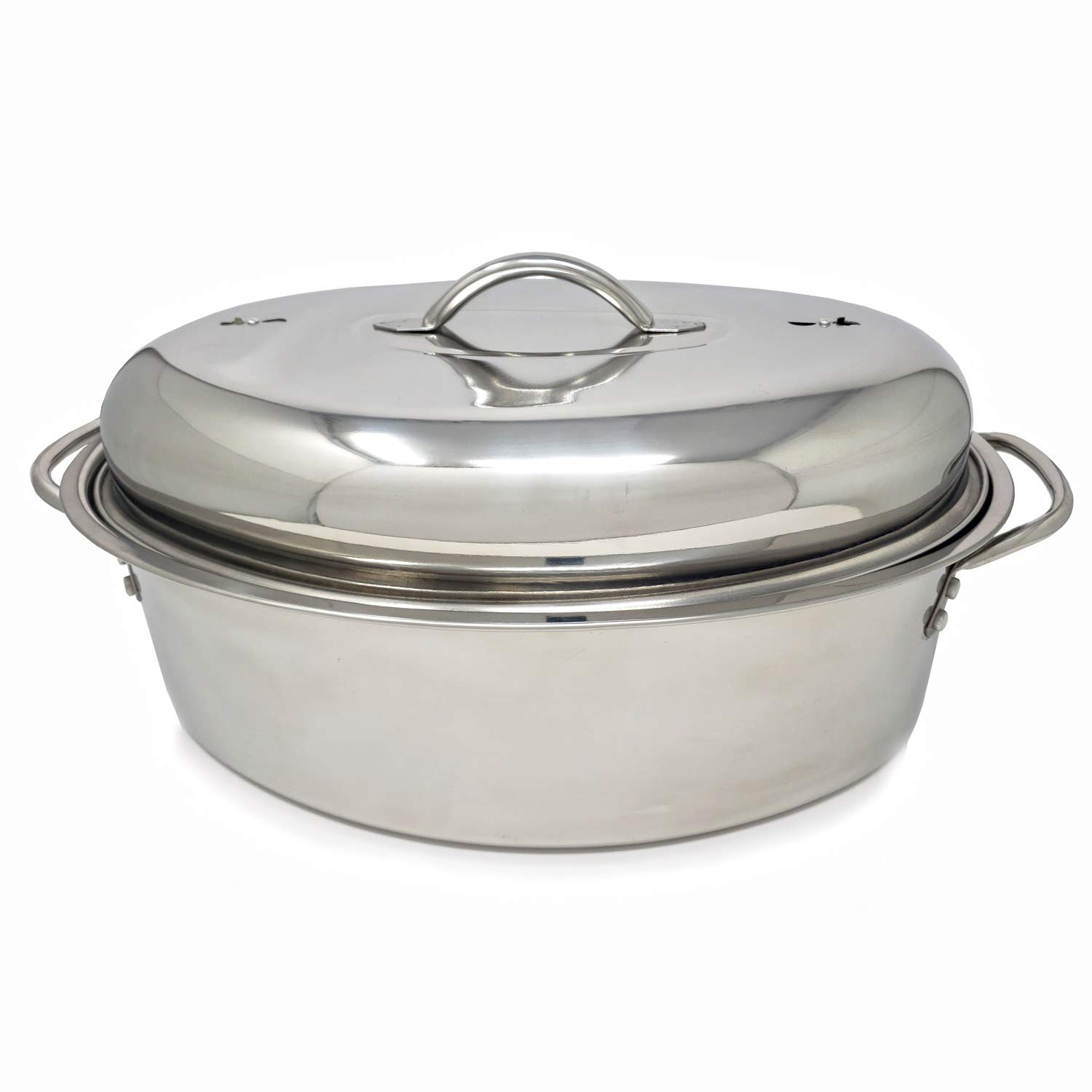 Stainless Steel Oval Lidded Roaster Pan Extra Large & Lightweight | With Induction Lid & Wire Rack | Multi-Purpose Oven Cookware High Dome | Meat Joints Chicken Vegetables 9.5 Quart Capacity by LavoHome (Image #6)