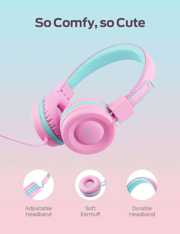 Pink Kinder Kopfh/örer auf Ohr Faltbare Kabel Kopfh/örer f/ür M/ädchen Volume Limited Stereo Sound 3,5 mm Aux Jack verstellbares Stirnband Kopfh/örer Kinder entwirrte Dr/ähte