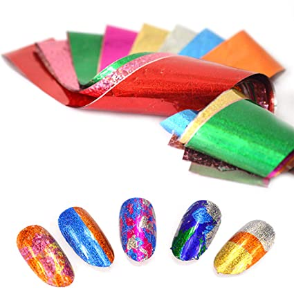 Papel de uñas holográfico bricolaje para decoraciones de uñas de arte 9 hojas Starry Sky Láminas