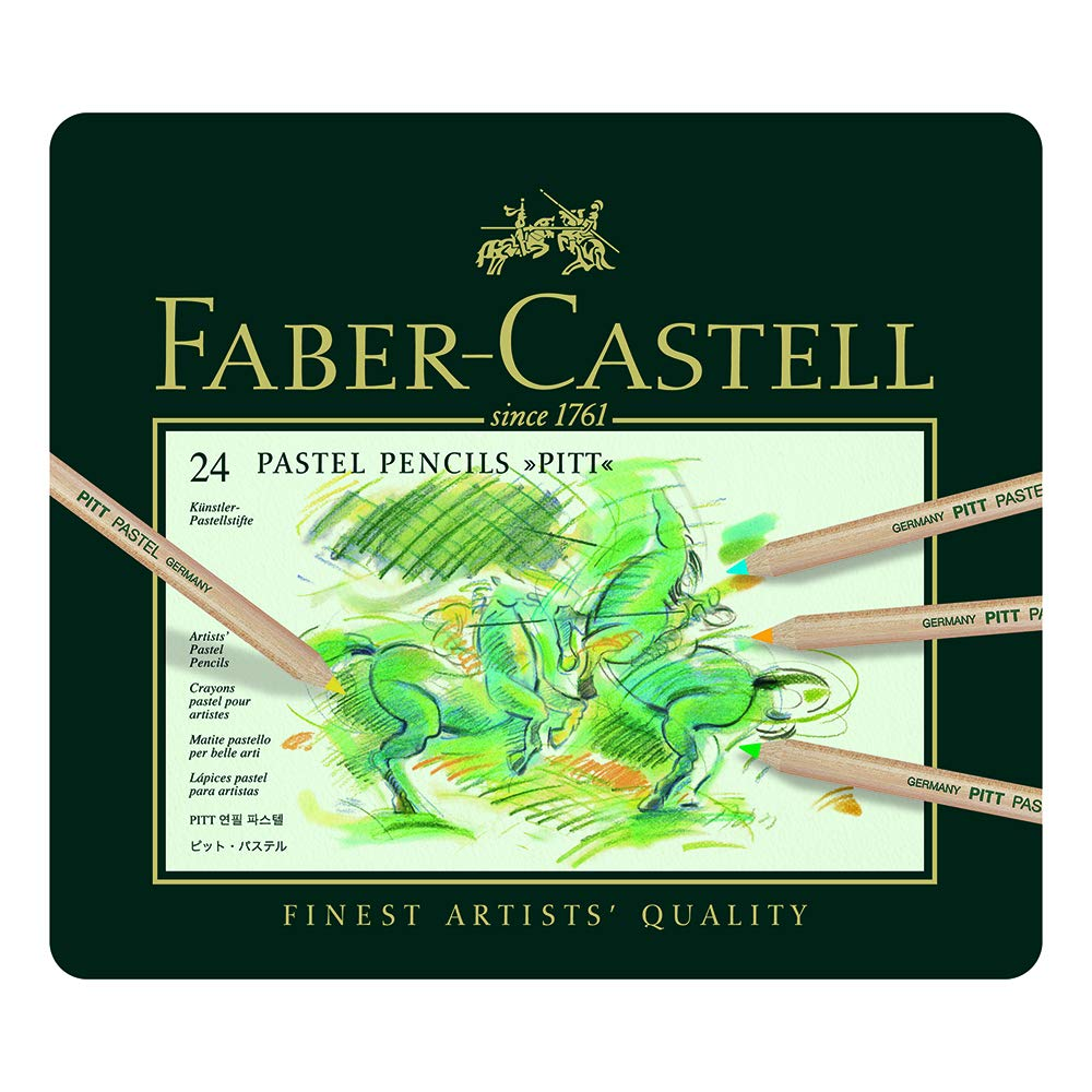 24 Pack Assorted Faber-Castel FC112124 Pitt Pastel Pencils in A Metal Tin