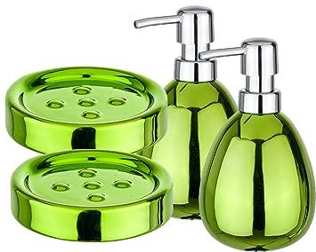 Wenko Polaris 4 Juego de baño y WC Juego 4 in1 VERDE 2 - Dispensador de jabón 2 Jabonera: Amazon.es: Hogar