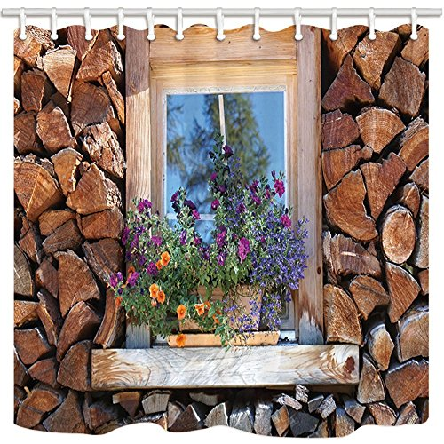 (HiSoho Log Cabin Shower Curtain, Feature House Wooden Wall and Window Flower, Bathroom Resistant Polyester Fabric Waterproof Shower Curtain Set with Hooks, 71X71in)