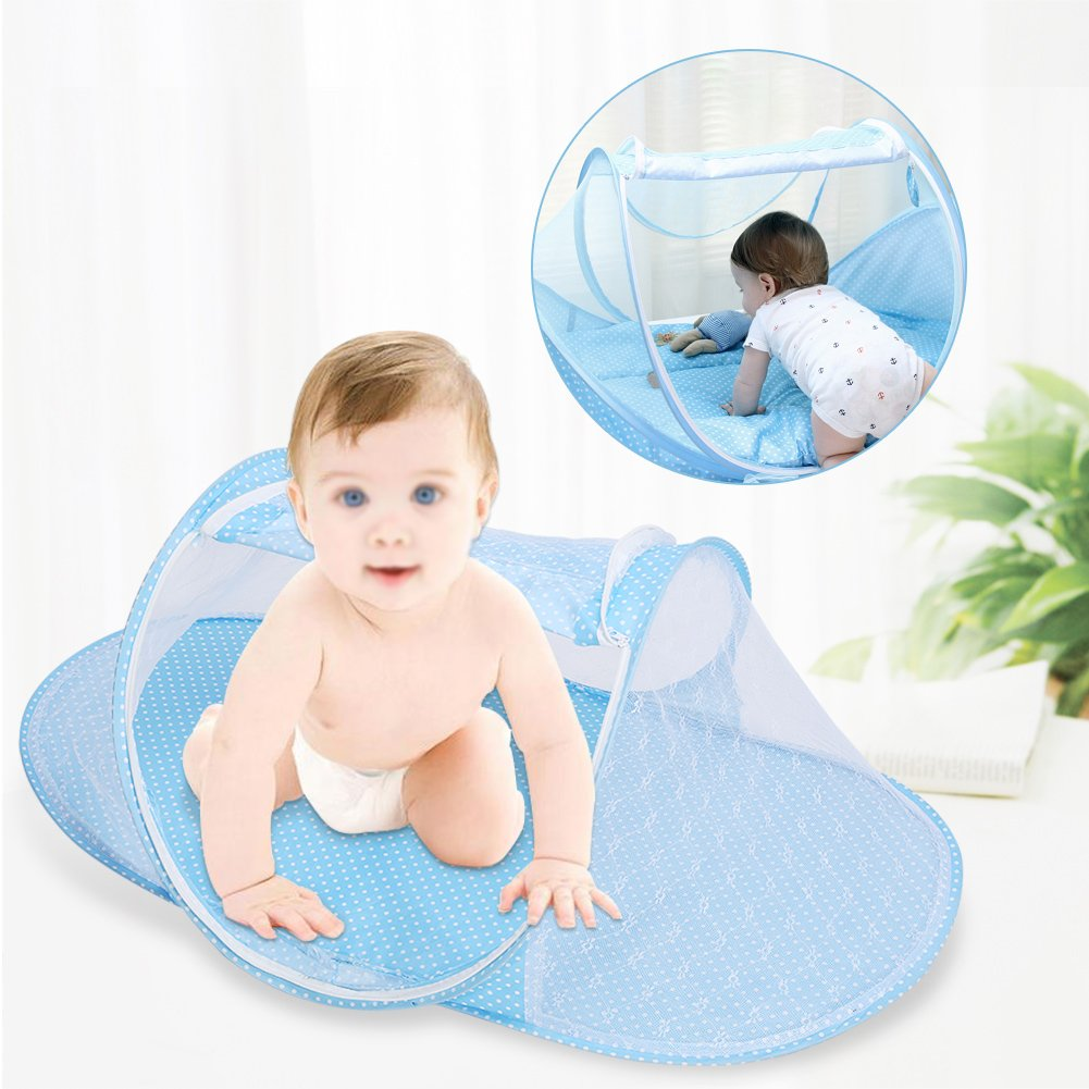 Baby Infant Bed Canopy Mosquito Net Blue Foldable Baby Infant Pop Up Crib Cradle Anti-Bug Tent Mosquito Mesh Net Portable Nursery Bed Crib Canopy Travel Bed Play Shades